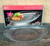 NEW IN BOX VINTAGE ANCHOR HOCKING MONACO OVAL GLASS RELISH VEGETABLE PLATE DISH