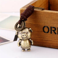 Creative Animal Pendant Leather Keychain Hand Made Delicate Unisex Alloy Piglet