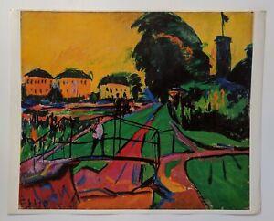 VTG ERICH HECKEL LANDACAPE NEAR DRESDEN FINE ART PRINT RARE 1969 MCM SWITZERLAND