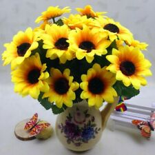 New ListingArtificial Flowers Branch Fake Sunflower 7 Heads Silk Flower Bouquet Home Decor