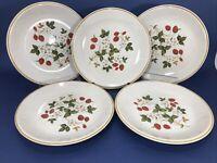 "SHEFFIELD Strawberries 'n Cream Stoneware Salad Dessert Plates 8 1/8"" Set Of 5"