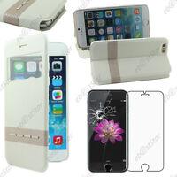"""Housse Coque Etui S-View Flip Cover Blanc Apple iPhone 6 Plus 5,5"""" Verre"""
