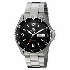 Orient AA02001B hombres Esfera Negra Pulsera Reloj De Buceo Automático De Plata Esterlina