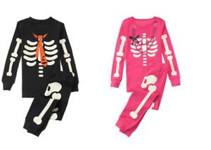 NWT Gymboree Halloween SKELETON Pajama Gymmies Costume Glow In The Dark
