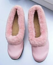 Vintage 1940s ladies dusky pink slippers fleece fluffy trim unworn size 6