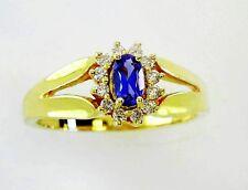 14KT YELLOW GOLD DAZZLING TANZANITE AND DIAMONDS LADIES RING (10696R)