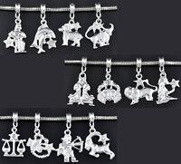 48 Mixed Silver Plated Clear Rhinestone Zodiac European Charm Dangle Beads