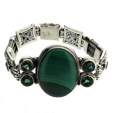 Malachite & Green Topaz Sterling Silver Bracelet Bali Design Gemstone YOU432