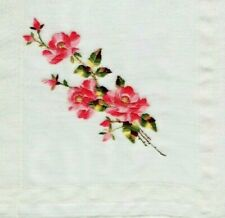 Vintage Handkerchief 13 1/2 In. Square with Embroidered Pink Flowers Euc