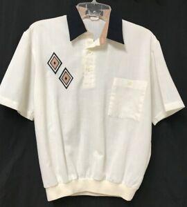Vtg ALAN STUART Waistband Shirt Medium Ivory Beige Black Short Sleeves Geometric