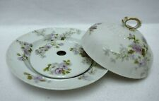 HAVILAND Charles Field CHF138 PURPLE ROSES pattern 3-Part Round Butter Dish