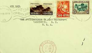 SOUTH AFRICA 1942 WWII 3v ON AIRMAIL COVER TO USA W/ CACHET