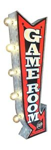 Game Room Sign W/ LED Lights, Double Sided Retro Marquee Metal Arrow Shaped Sign