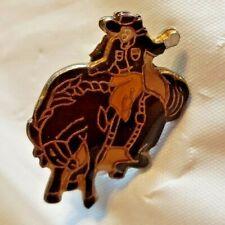 Vintage Cowboy On Bucking Bronco Enamel Lapel Pin Missing Back Clasp