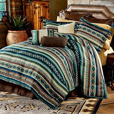Country Western Southwestern Log Cabin Lodge Blue Teal Green Brown Comforter Set