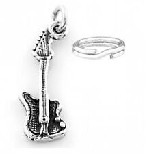 """STERLING SILVER """"ELECTRIC GUITAR"""" CHARM WITH SPLIT RING"""
