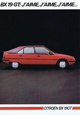 Citroen BX19 GT French brochure/leaflet 1985