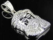Argento Sterling Mini Vero Diamante Vero gesù Ciondolo in Finish Bianco 0.70 KT