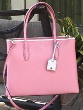 Kate Spade Eva Leather Medium Satchel Crossbody Bag Handbag Tote Pink Pebbled