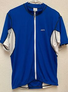 Louis Garneau cycling jersey mens medium 3 Pockets Blue And White