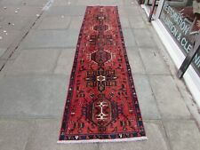 Antique Worn Traditional Hand Made Oriental Red Wool Long Narrow Runner 315x75cm