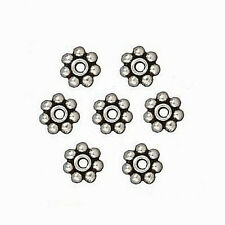 DAISY JEWELRY SPACERS BEAD 5MM ANTIQUE SILVER PEWTER 25 BEADS PW1