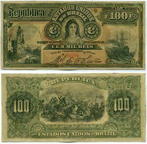 BRAZIL NOTE 100 MIL REIS (1892) COUNTERFEIT P 60 XF+