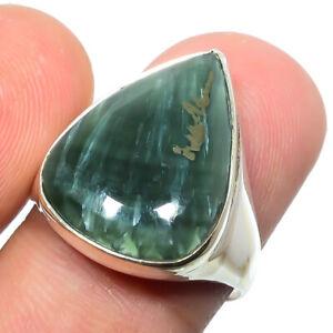 Seraphinite - Russia Gemstone 925 Silver Handmade Jewelry Ring s.7 S2689