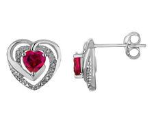3/5 quilates (quilates rubí creado) Pendientes del corazón en plata esterlina