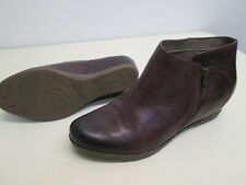Dansko Leyla Wine Burnished Calf leather Ankle Boot hidden heel New sz 42 EU, 11