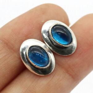 "Blue Onyx 925 Silver Plated Handmade Gemstone Stud/Earrings of 0.6"" Ethnic Gift"