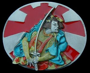 AWESOME SAMURAI BELT BUCKLE GREAT COLORS BERGAMOT PEWTER US MADE NEW