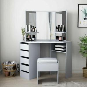 Modern Corner Dressing Table Set Mirror Make Up Table Makeup Desk Dresser Vanity