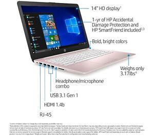"NEW HP Stream 14"" Laptop Intel 4GB RAM 64GB eMMC BLACK COMPUTER"