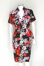 DVF Diane Von Furstenberg Anoush Floral Brown Wrap Dress 6 uk 10