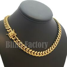 "Hip Hop Luxury Stainless Steel 18"" Miami Cuban Choker Box Lock Chain Necklace"