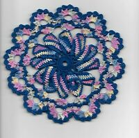 Handmade crochet pinwheel 8 inches round doily navy blue pastels colors