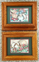 Pair of Laurie Korsgaden Framed Doubled Matted Rabbit Bunny Prints