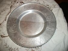 """Wrought Farberware 11 1/2"""" Serving Tray -Hammered Aluminum - Sawtooth Edges"""