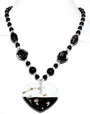 "FN222f Black & White w Sparkle Lampwork Glass Donut Heart Pendant Necklace 18"""