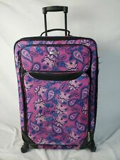 """$249 TAG Travel Springfield III Suitcase Luggage Purple Floral Print 27"""" CheckIn"""