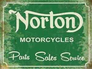 Norton Motos, Pièces Sales Service, Vintage Ancien Garage, L Enseigne en Métal