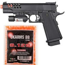 AIRSOFT FULL SIZE SPRING PISTOL TACTICAL LASER SIGHT HAND GUN w/ 1000 6mm BBs BB