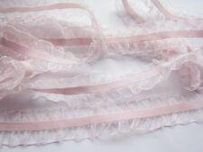 """10y Organza Ruffle 1"""" Elastic trim for headband-Baby Pink L002"""