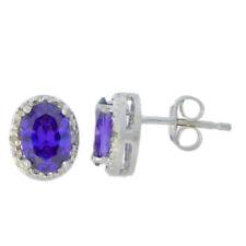 2 Ct Amethyst & Diamond Oval Stud Earrings 14Kt White Gold