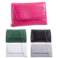Ladies Croc Print Patent Leather Envelope Evening Clutch Bag Handbag KL500