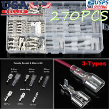 270X Assortment Terminal Electrical Wire Crimp Connectors Male Female Spade