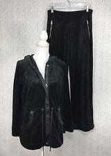 Soma Womens XS S 2 Piece Black Velour Lounge Set Track Suit Zip Hoodie & Pants