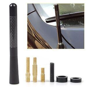 """4.7"""" Black Antenna Aluminum Carbon Fiber Style Car AM FM Radio Aerial With Screw"""
