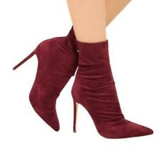 Women Suede Fabric High Heel Ankle Boots Zip Sexy Pointed Toe Stilettos Shoes D